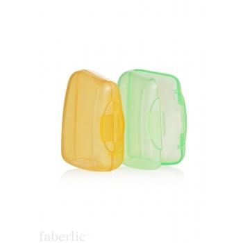 Защитный колпачок для зубной щетки: желтый и зеленый.