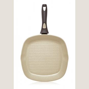 Сковорода-гриль с антипригарным покрытием, цвет оливковый, 28 см
