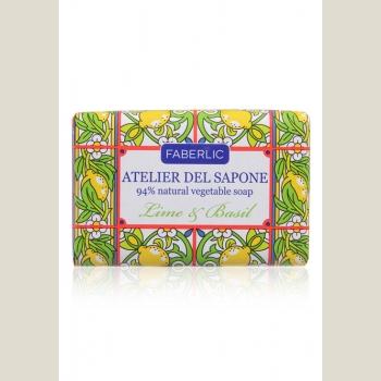 Мыло натуральное кусковое «Лайм и базилик» Atelier del Sapone