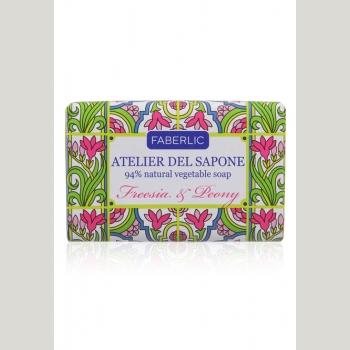 Мыло натуральное кусковое «Фрезия и пион» Atelier del Sapone