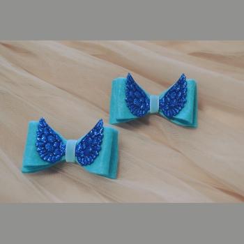 Заколки фетр голубой с крыльями