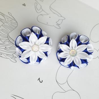 Резинки бело синие атлас репс