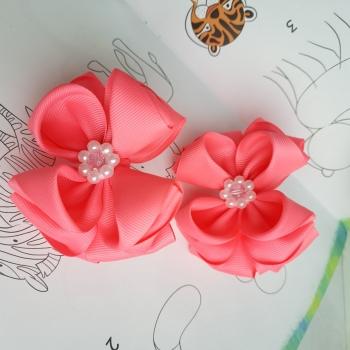 Большие репсовые банты резинки ярко розовые