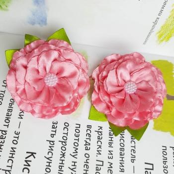 Резинки цветок атлас розовый
